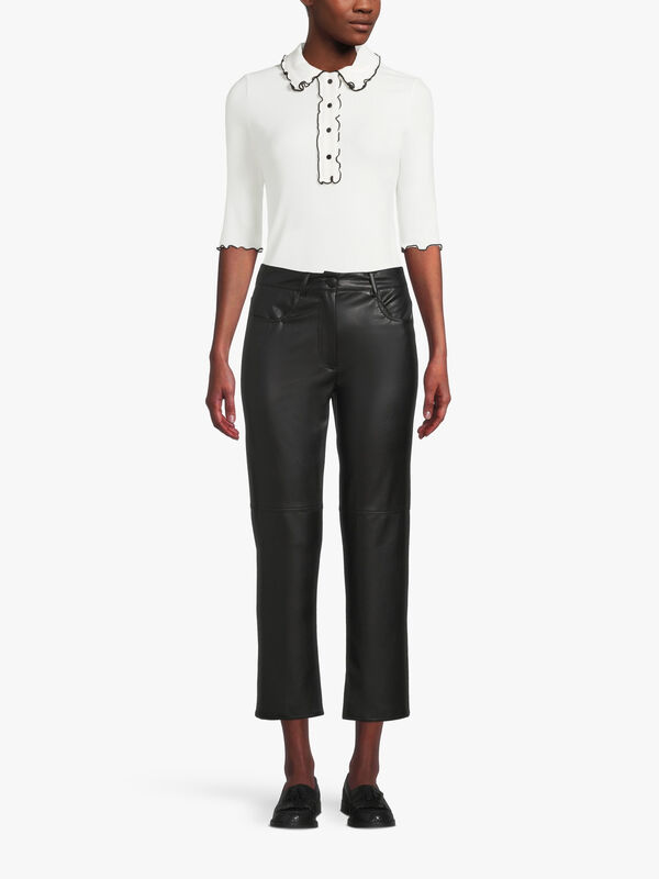 Valdena Kick Flare Faux Leather Trouser