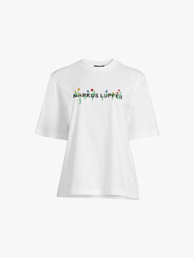 Nicola Embroidered Flower Logo T Shirt