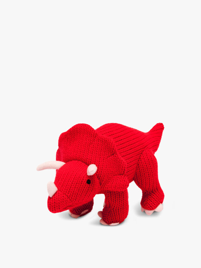 Knitted Triceratops Mini Rattle
