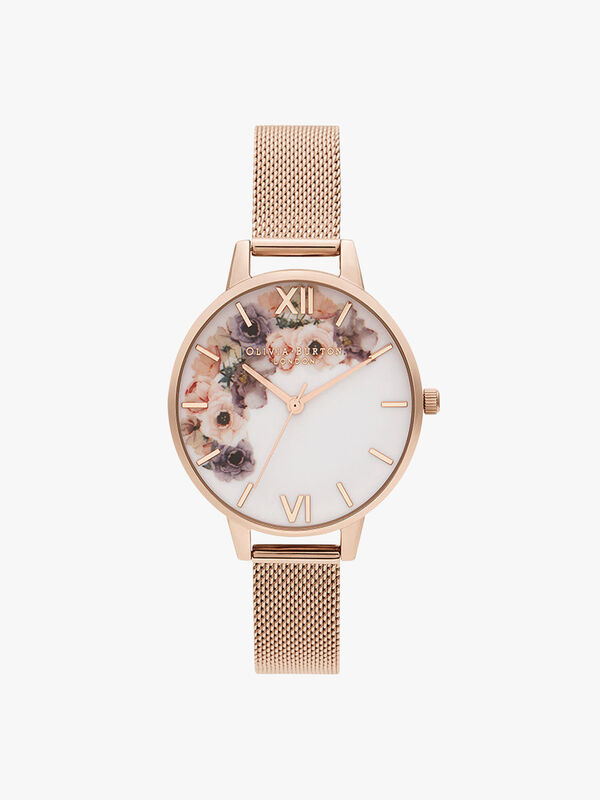 Watercolour Floral Mesh Watch