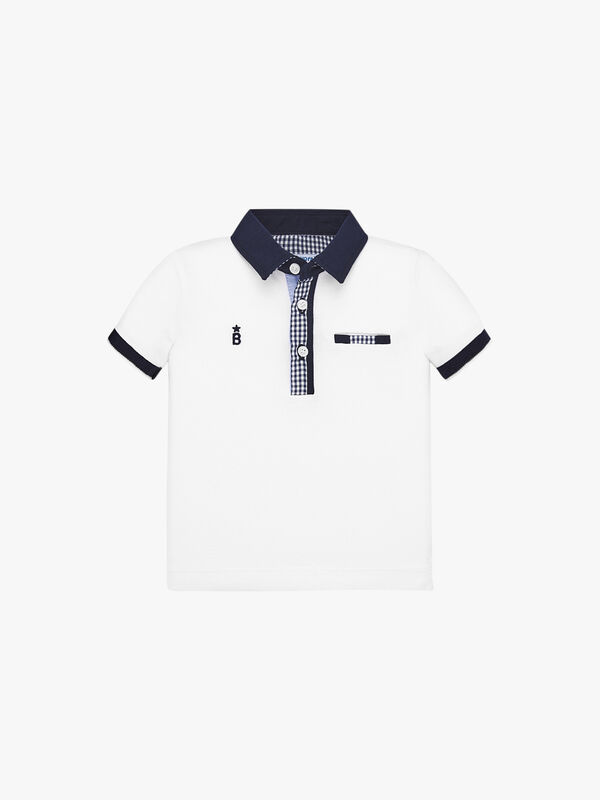 Polo Top With Gingham Detail