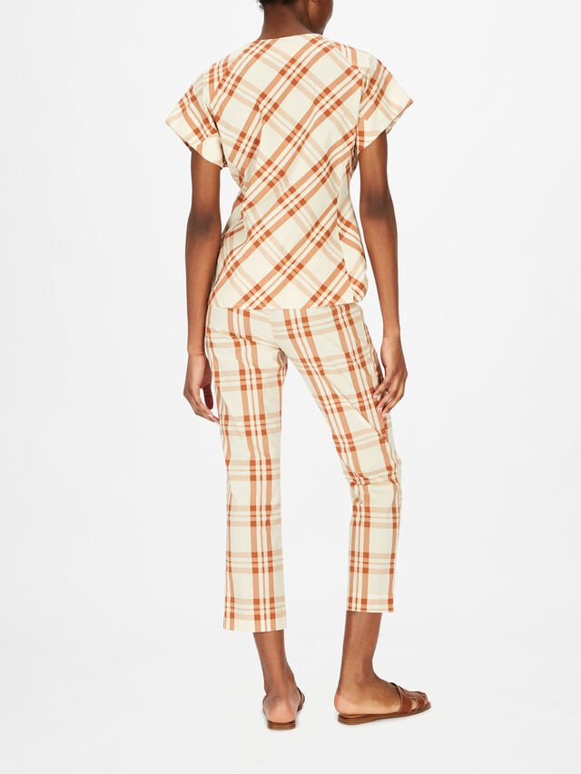 Gingham Cropped Cotton Pull On Trouser