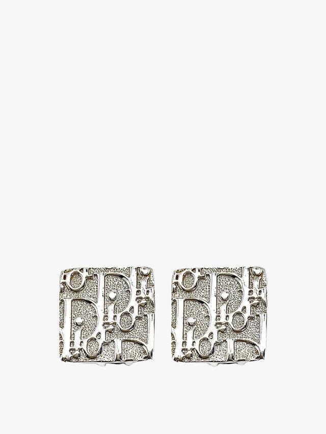 Vintage Dior Trotter Logo Earrings