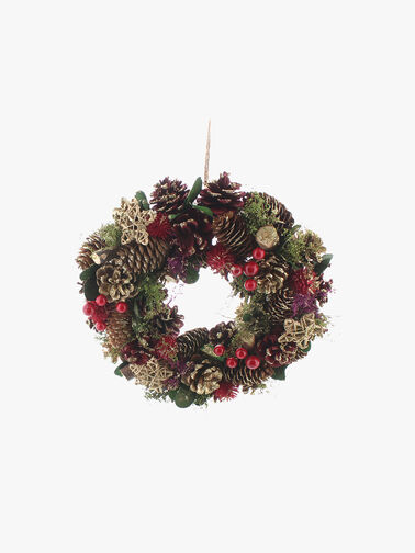 Red Berry and Gold Cone Wreath 36cm