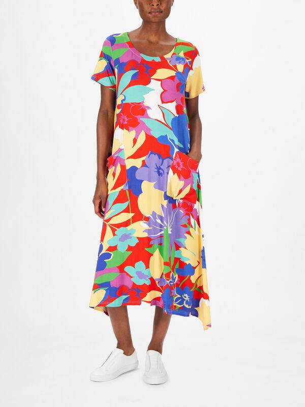 Floral Dip Hem Jersey Dress