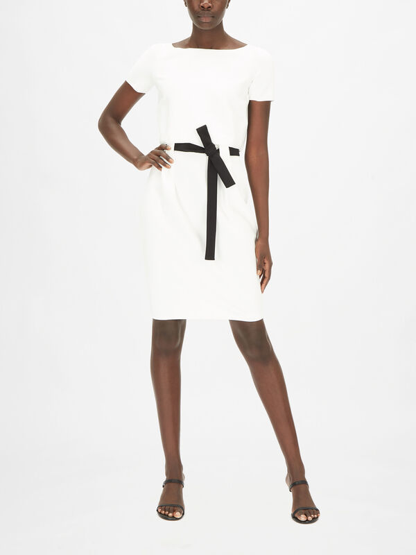 Short Sleeve Knee Length Dress With Waist Tie