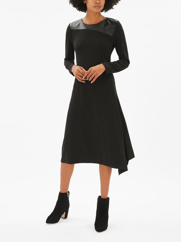Faux Leather Detail Dress