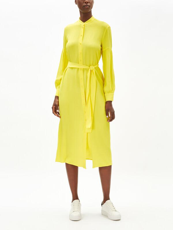 Tie Neck Long Sleeve Midi Dress