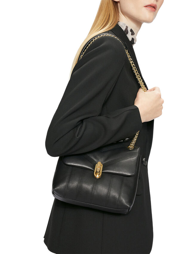 AYALINA Leather Puffer Quilt Detail Mini Xbody Bag