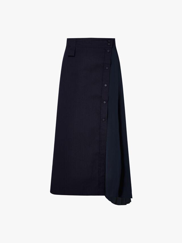 Pesche Button Detail Asymmetric Skirt