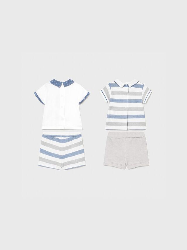 Stripe Polo Shirt & Shorts Set Two Piece Set