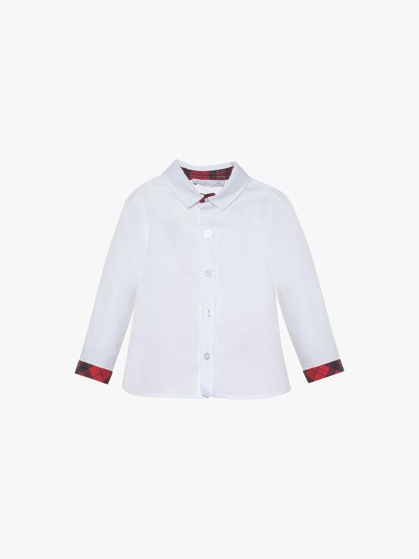 Cotton Shirt With Tartan Trim