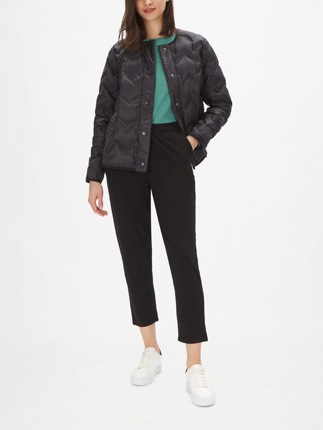 Tuve Collarless Zig Zag Quilted Jacket