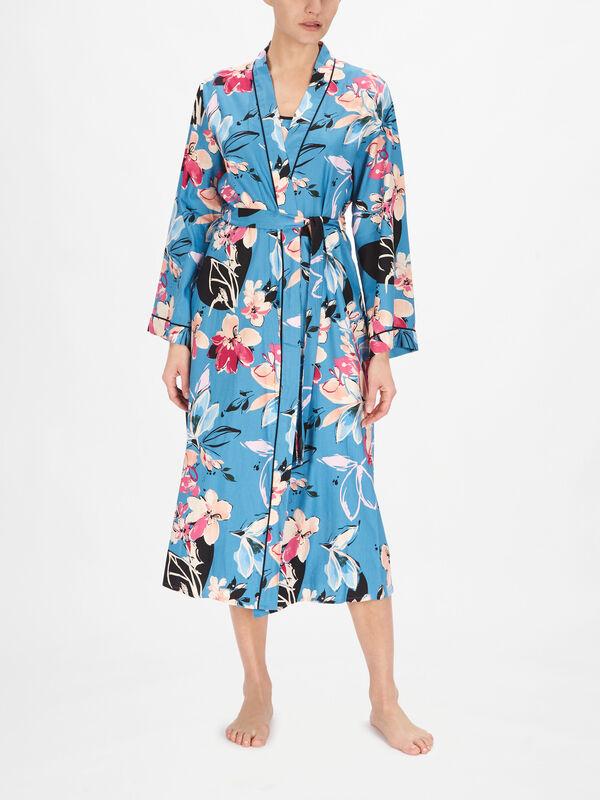 Hannah Turquoise Floral Print Wrap
