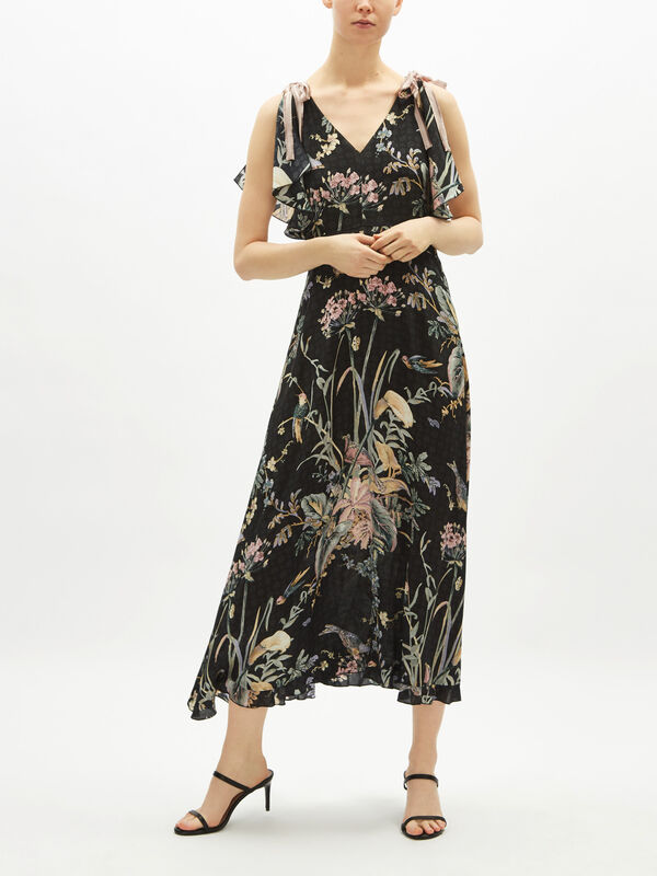 V Neck Long Floral Dress