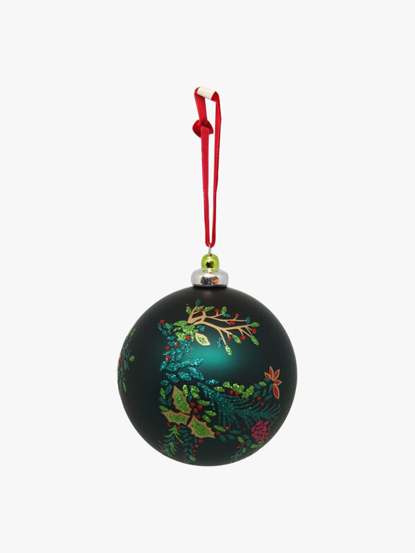 Holly Reindeer Christmas Bauble