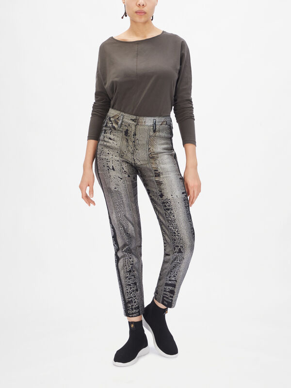 Oil Print Pocket Cocoon Trousers