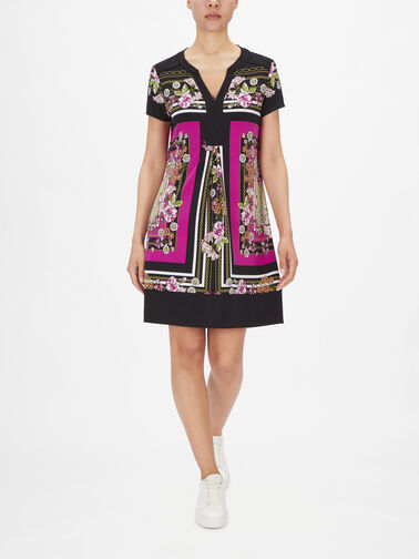 V-Neck-SSlv-Scarf-Print-Dress-211444