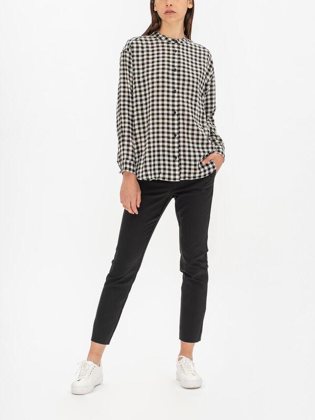 Ineo Gingham Mandarin Collar Shirt