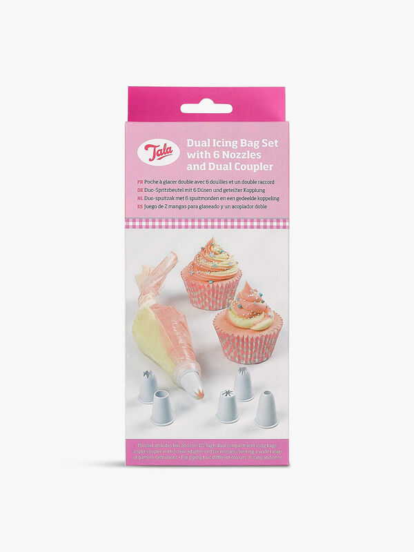 10 Large Dual Icing Bags with 6 Nozzles