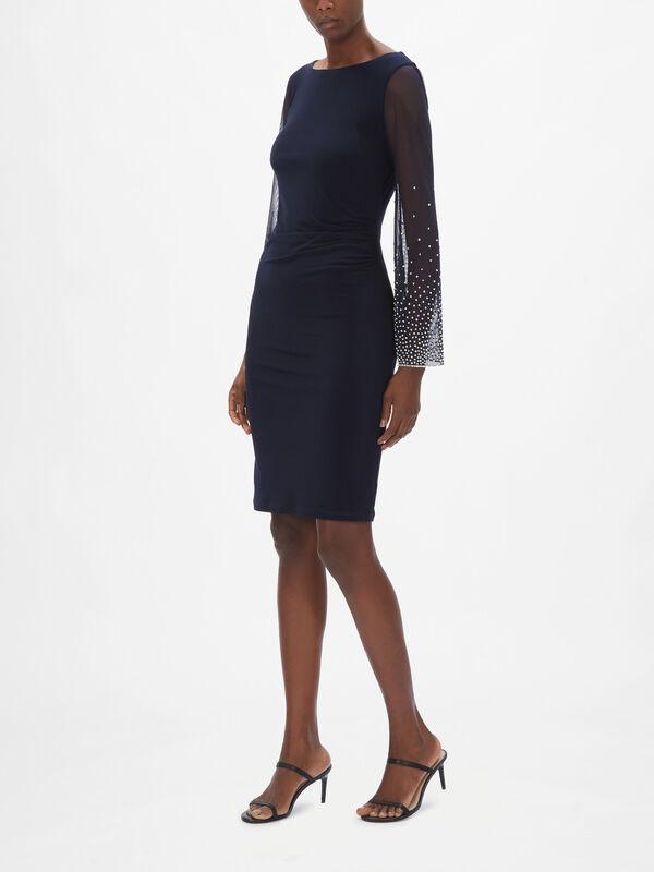 Sparkle Sleeve Ruch Dress