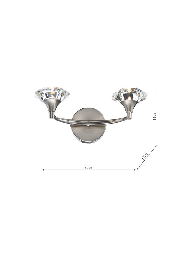 Luther Double Wall Bracket Antique Brass Crystal