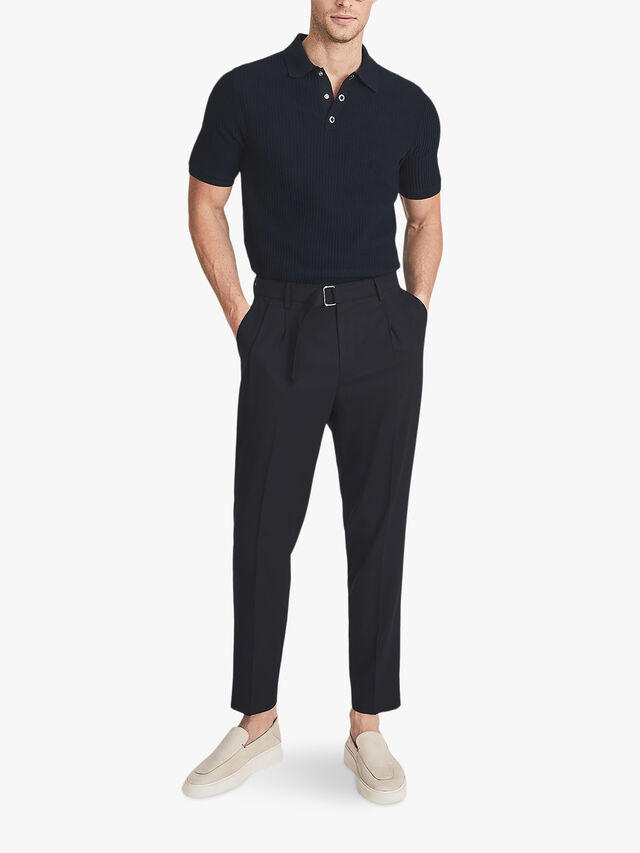 CLAPHAM Cotton Textured Polo Shirt