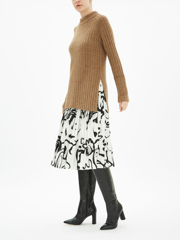 Wool Chunky Rib Long Sweater