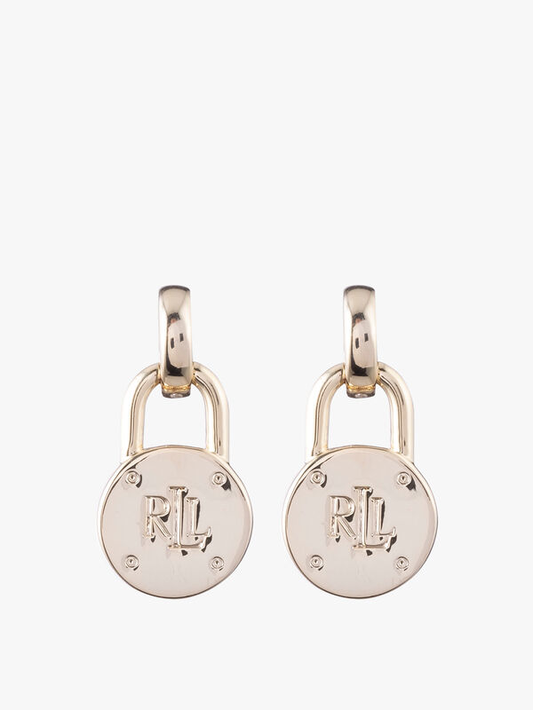 Lauren Ralph Lauren Logo Gold Tone Pendant Earrings