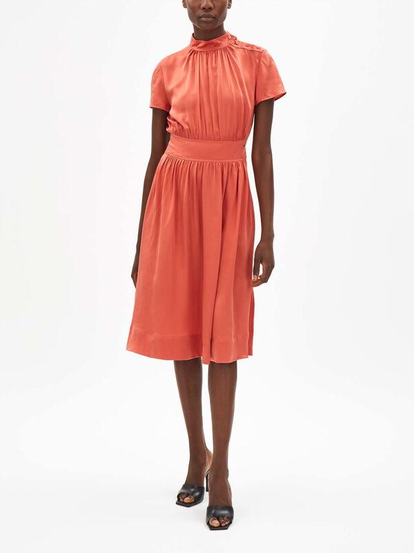 Silk Funnel Neck Midi Dress