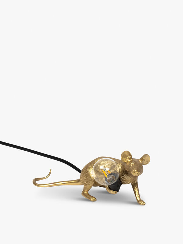 Lying Down Gold Mouse Black Cable