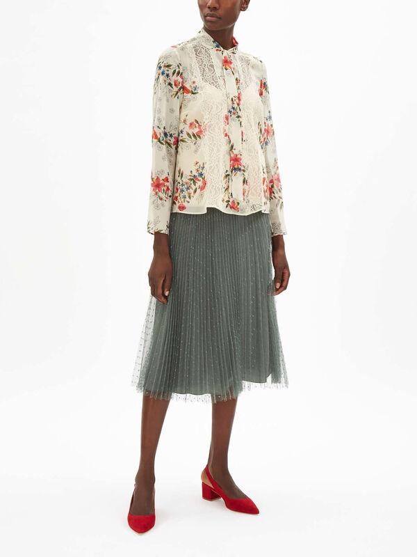 Floral Tie Neck Blouse