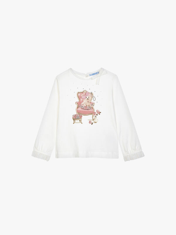 Long Sleeve Top With Dog On Chair