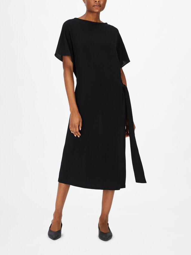 Double Layer Midi Dress With Side Tie