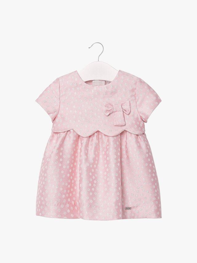 Spot Short Sleeve Bow Dress