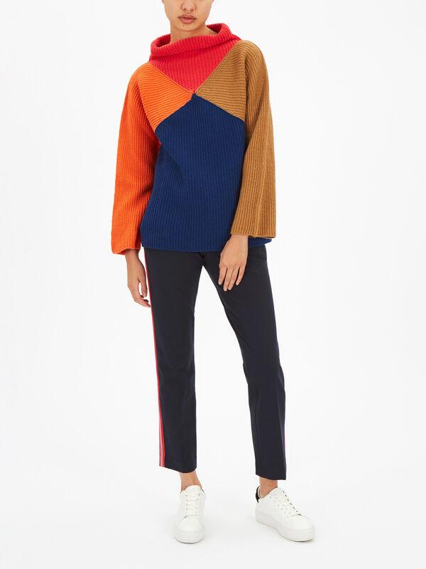 Colour Block Roll Neck Knit
