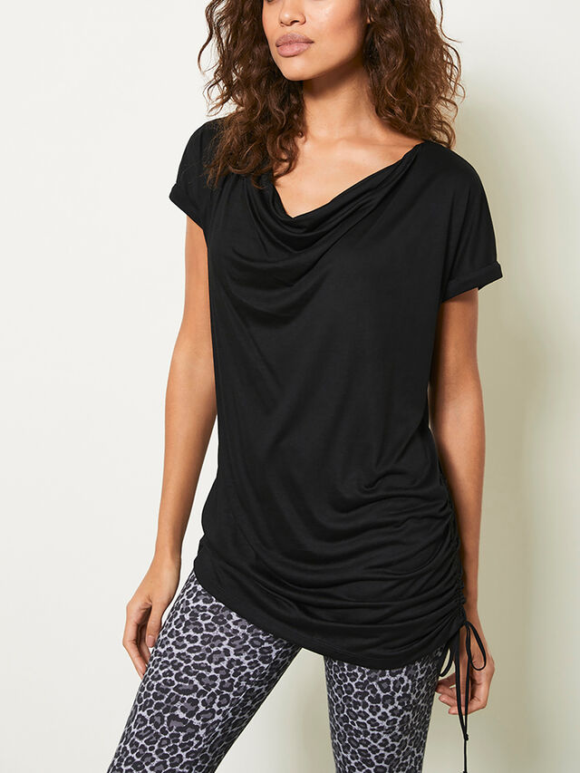 Black Longline Ruched T-Shirt