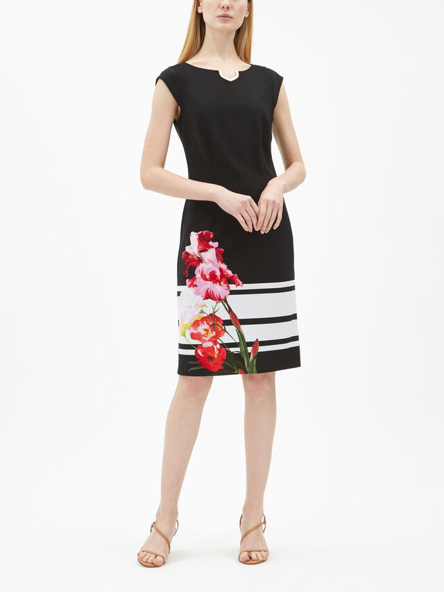 Block and Flower Placement Print Dress