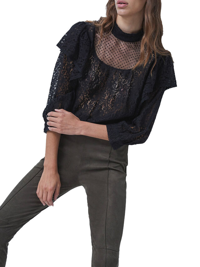 Inna Lace Mix Ruffle Top