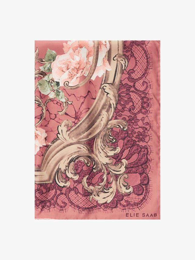 Lace Flower Silk Twill Scarf