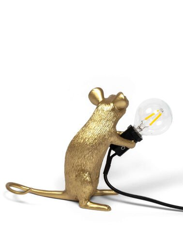 Sitting Gold Mouse Lamp