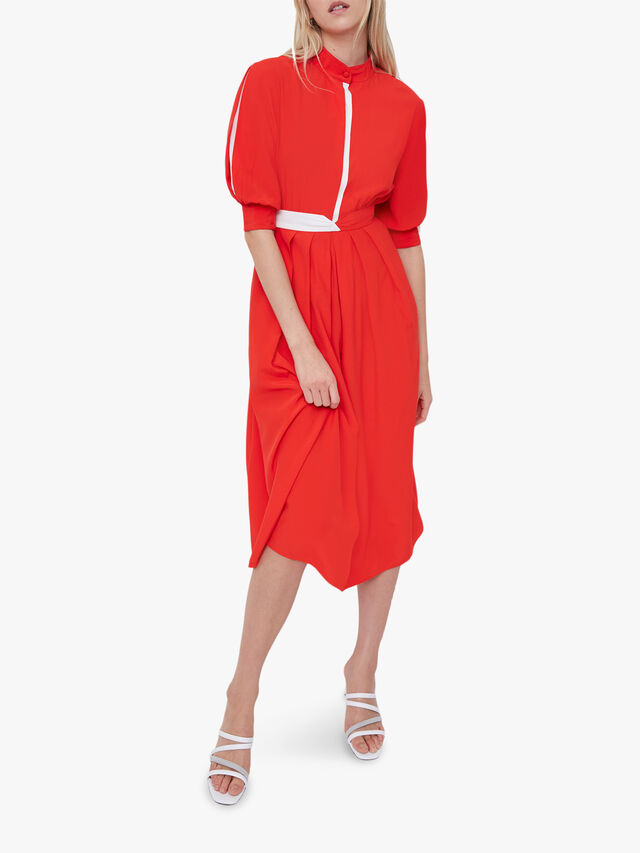 Aiden Drape Contrast Shirt Dress
