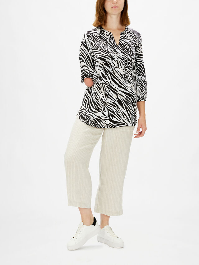 Zebra Pintuck Kaftan Top