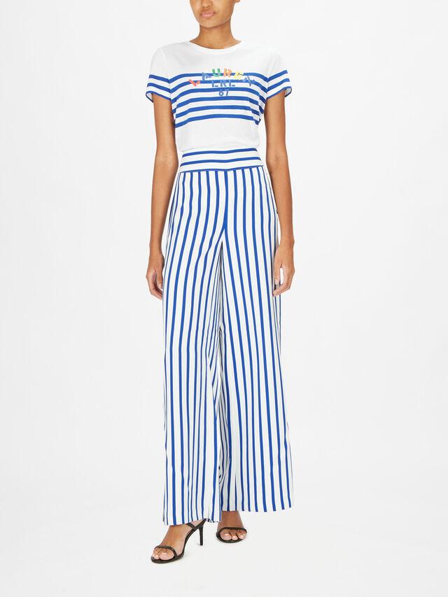 Margit Wide Leg Riviera Stripe Trouser