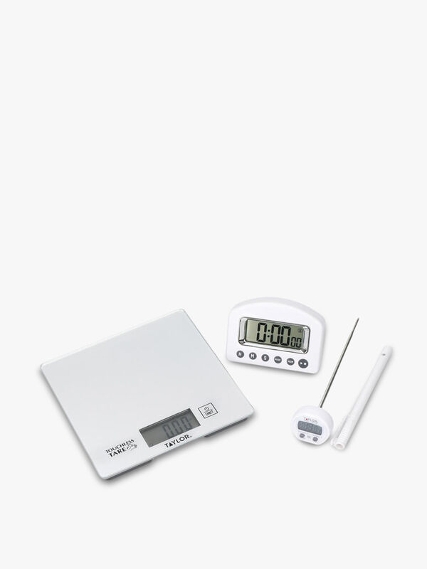 Taylor Pro Kitchen Scale, Timer and Thermometer Gift Set