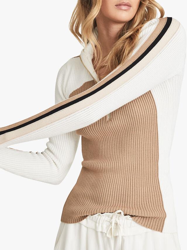 Zana Colour Block Zip Neck Polo Shirt