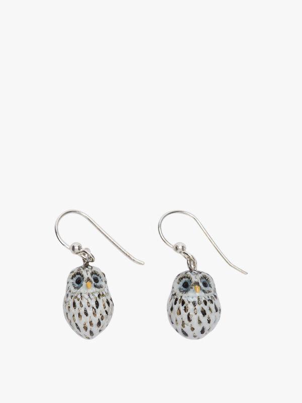 Snowy Owl Drop Earrings