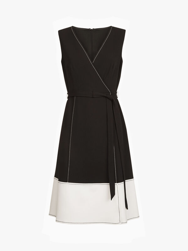 V-Neck Faux Wrap Stitched A-Line Dress