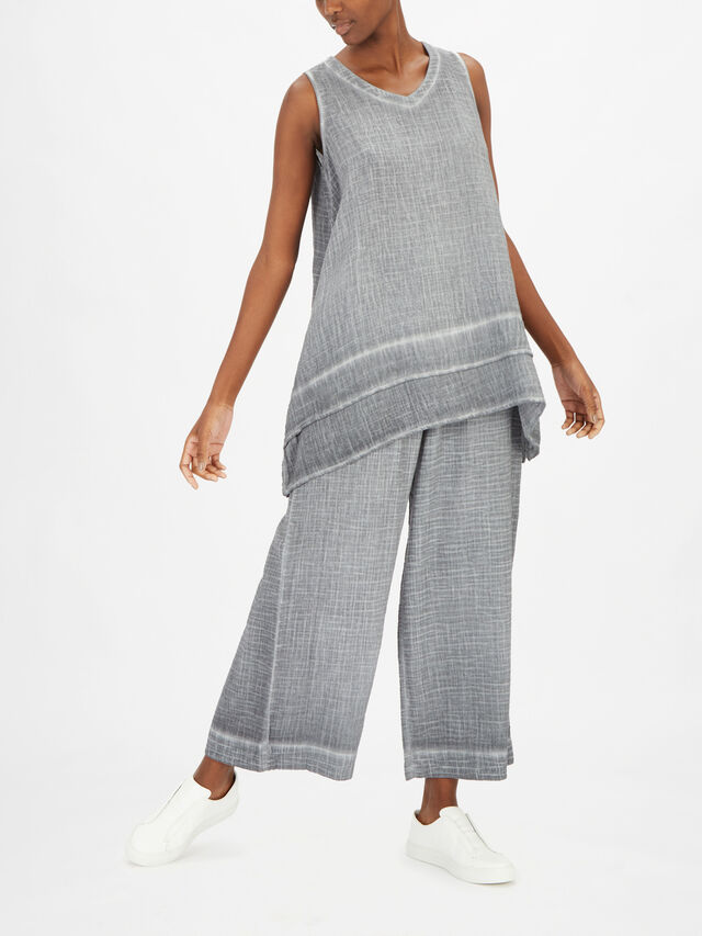 Washed Cotton Double Layer A Line Long Top