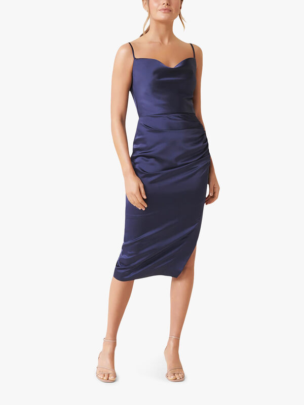 Laura Satin Cowl Ruched Midi Dress